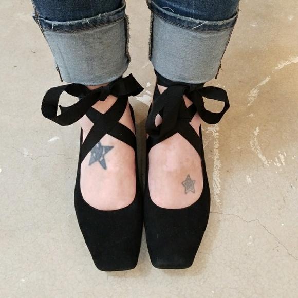 f9a75a1f164 Me Too Neena Black Lace Up Ballet Flats